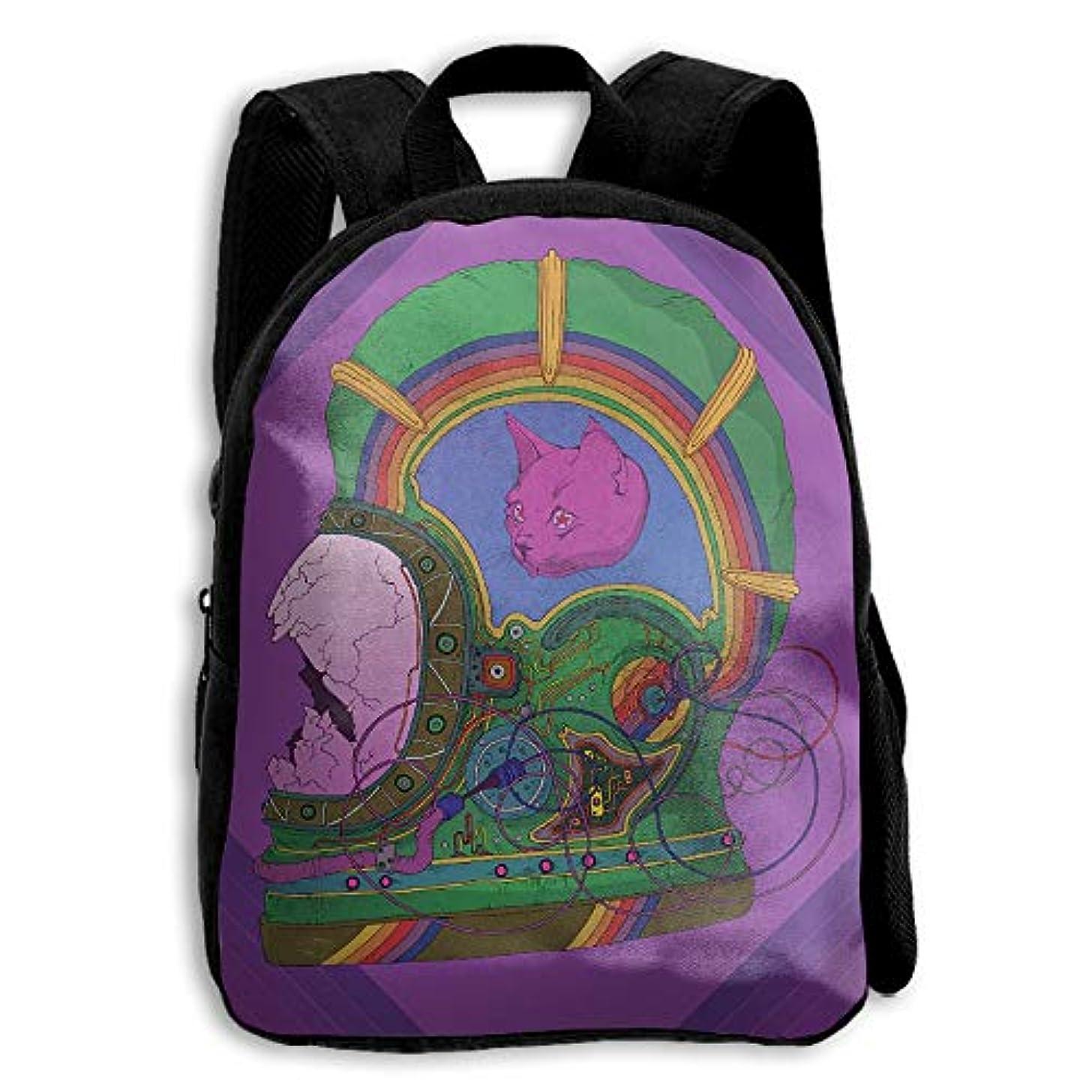 サンダーバング不承認キッズ バックパック 子供用 リュックサック 猫宇宙飛行士 ショルダー デイパック アウトドア 男の子 女の子 通学 旅行 遠足