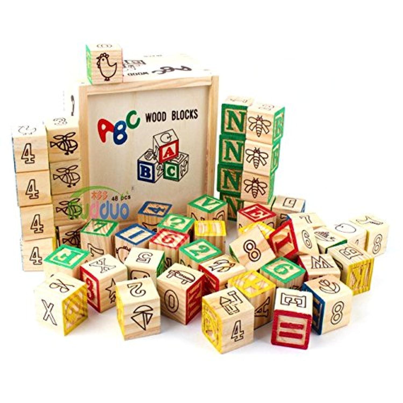 Children ' s英語木製アルファベットおもちゃ48タブレット建物ブロックさまざまな建物ブロックEarly Childhood認識機能おもちゃ