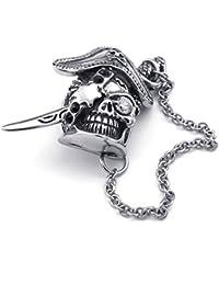 [テメゴ ジュエリー]TEMEGO Jewelry メンズステンレススチール製のヴィンテージゴシックスカル海賊ペンダントネックレス、ブラックシルバー[インポート]