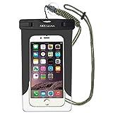 スマホ防水ケースMOSSLIAN 防水携帯カバーfor Apple iPhone 6s, 6 Plus, Samsung Galaxy S6 Edge ネックストラップ付属 防水国際保護等級 IPX8認定獲得の防塵ケース (ブラックw/o band)