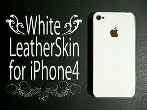 iPhone4S/4用スキンシート ホワイトレザー/革柄白 液晶保護フィルム同梱