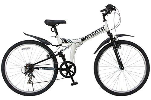 KAZATO(カザト)26インチシマノ6段変速スチール製 折りたたみ自転車 マウンテンバイク MKZ-266 ホワイト
