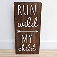 Run Wild My Child Sign Woodland Nursery Decor Baby Shower Decorations 7.5 x 15 inches [並行輸入品]