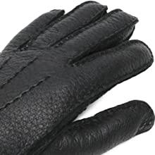 Peccary Gloves Cashmere Lined 15-1564: Black