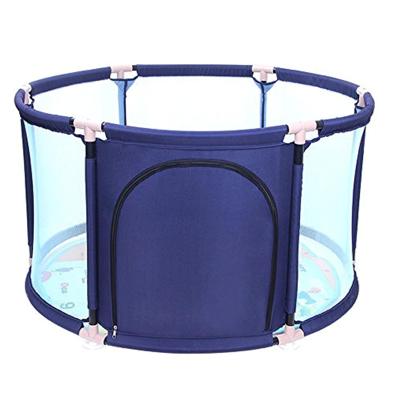 HUO 赤ちゃん遊びゲームフェンスの子供ラウンドガードレール赤ちゃんの安全フェンスをクロール 省スペース (色 : 青, サイズ さいず : 65 * 109cm)