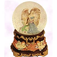 Angelic Guardian Angel Holding Baby – - Sculptured樹脂水ボール音楽ボックス5 3 / 4