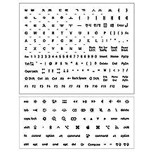 The Red Korean Hangul Keyboard Lettering Set(Incl.Mac Symbols)- 1 Set (2 Sheet) (White, Keyboard Lettering)
