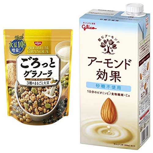 【セット買い】ごろっとグラノーラ3種のまるごと大豆400g 400gX6袋 + グリコ アーモンド効果 砂糖不使用 1000ml×6本 常温保存可能
