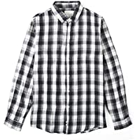 BYLUNTA Men's 100% Cotton Checked Long Sleeve Casual Button Up Sport Shirt Regular Fit (SmallBlack)