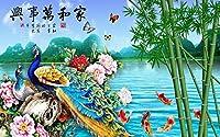 Dtcrzj アート蝶牡丹大壁画装飾背景壁紙壁の装飾Qi224,2,5,0、*、1,7,5、C、M