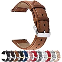 Quick Release Leather Watch Band, Fullmosa Treen Gradient Color Tanned Leather Watch Strap with Stainless Metal Clasp 20mm Brown