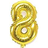 HooMall アルミバルーン 数字 パーティー用品 パーティーバルーン風船 ゴールド 数字自由選択 イベント 二次会 パーティー 結婚式用品 装飾 飾り (数字8)