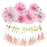Hanamei 誕生日 飾り付け 装飾 バースデー デコレーション セット no.3 筆記体 スクリプト スターガーランド pa008 … (ピンク)