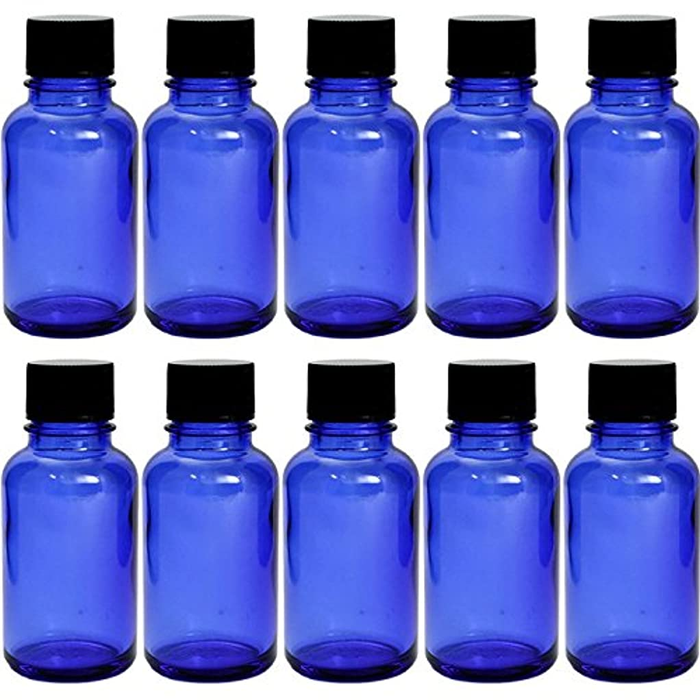主婦下着付属品遮光瓶 ブルー 30cc SYA-B30cc -10本セット- (黒CAP 穴なし中栓付)