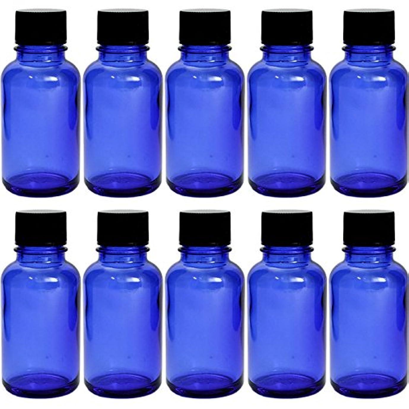 ノイズブッシュ通り遮光瓶 ブルー 30cc SYA-B30cc -10本セット- (黒CAP ドロップ栓付)