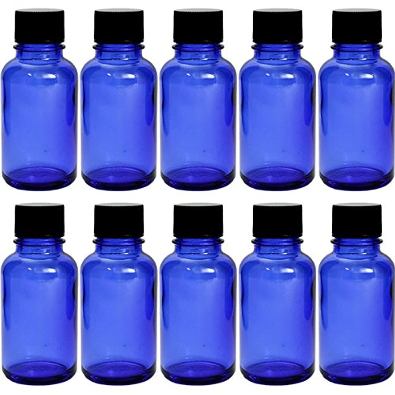 喜んで無関心スキーム遮光瓶 ブルー 30cc SYA-B30cc -10本セット- (黒CAP 穴なし中栓付)