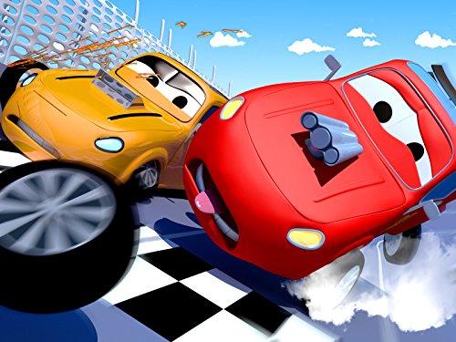 カーシティーにいる、列車のトロイとポストカーのピーターがパーティーの招待状配達!& レースカーのジェリーとタイラーの事故! |子供向け自動車&トラックアニメ