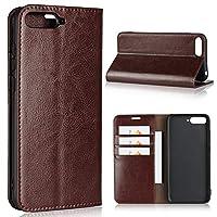 Fengzj- 革電話ケース Huawei Y6 2018革ケース、眺めスタンド&カードスロット、Huawei Y6 2018のためのフリップケースカバーと贅沢なクレイジーホース本革製の財布のケース (Color : Coffee)