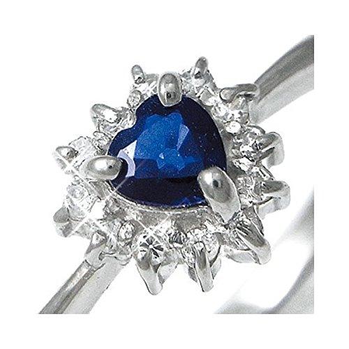 Pt100 ハートサファイア&ダイヤリング 指輪パヴェリング 17号 ファッション リング 指輪 天然石 ダイヤモンド [並行輸入品]