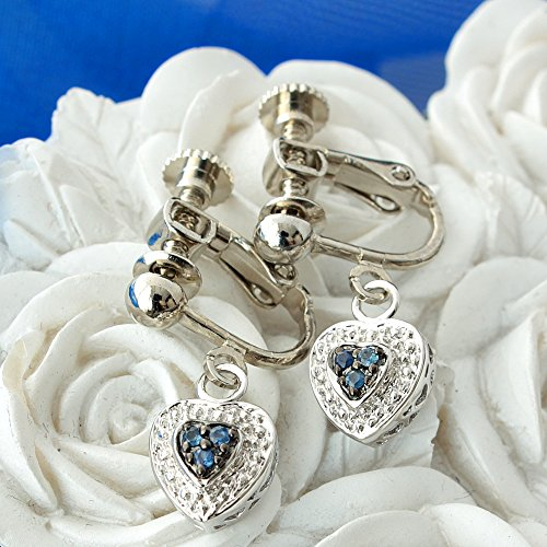 One&Only Jewellery 【鑑別書付】 天然 サファイア ハート パヴェ イヤリング K18GP 宝石の王様 9月誕生石