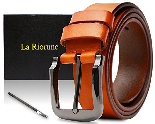 Riorune メンズ ベルト 本革 レザー カジュアル ビジネス (キャメル)