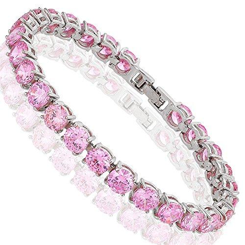 [RIVA Jewelry] テニスブレスレット [18cm/7inch] ラウンドカット ファインダイヤモンド CZ [ピンクサファイア] 18K ホワイトゴールド メッキ, シンプル モダン 優雅