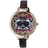 funiqueユニセックス学生Civet CatブラックPUレザーDress WatchクォーツビジネスCasaul Watch