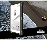Xperia Z5ケース Sony XperiaZ5 エクスペリアZ5 カバー 手帳型 本革調 レザー 窓付き 開かず通話 スマホケース スマホカバー LOVE MEI 正規品 軍用 耐衝撃 全方向衝撃吸収 アルミ コーニング社製ゴリラガラス採用 マグネット吸着 ブランド おしゃれ 携帯電話ケース 携帯カバー  (ブラック)