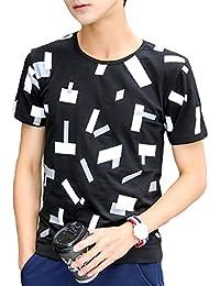 [meryueru(メリュエル)] ジオメトリック パターン 半袖 オシャレ デザイン トップス Tシャツ ファッション メンズ
