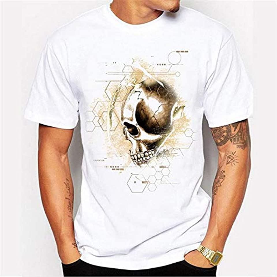 トロイの木馬単位効果的にGuomao 春のラウンドネック夏のプリント半袖Tシャツパーソナライズドスカルプリントトレンドメンズ半袖ラウンドネックTシャツトップ (Color : White, Size : L)