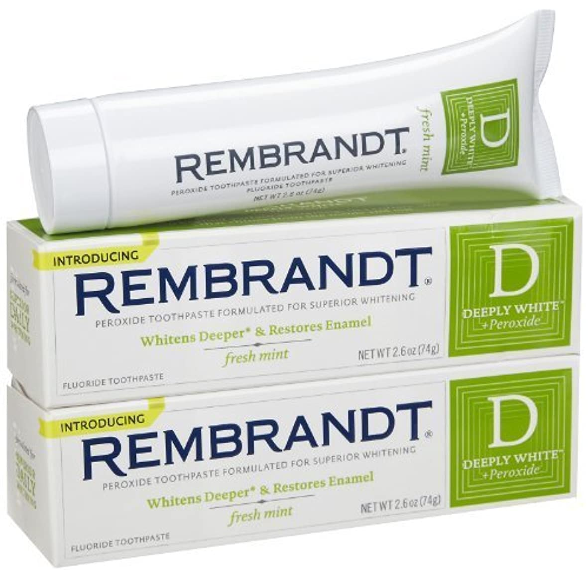 しゃがむ概念勧告Rembrandt Fluoride Toothpaste, Mint - 2.6 oz - 2 pk [並行輸入品]