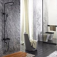 wAWzjバスルームシャワーセット304ステンレススチールシャワーシャワーSuitブラックサーモスタットコールドとホットシャワーシャワー