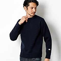 Middle Gauge Wool Crewneck Sweater 116-05-0081: Navy