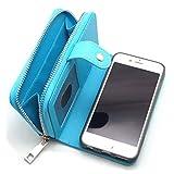 【Puppy Select】 マグネット脱着式 財布 代わりにもなる 大容量 iPhone 手帳 型 スマホ ポーチ 選べるカラー サイズ (ブルー iPhone6)