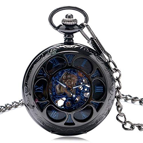 BEESCLOVER ポケットウォッチ 懐中時計  ヴィンテージ 中空 花びら カバー 手巻き 機械式 ポケット ウォッチ ファッション 時計 ブラック