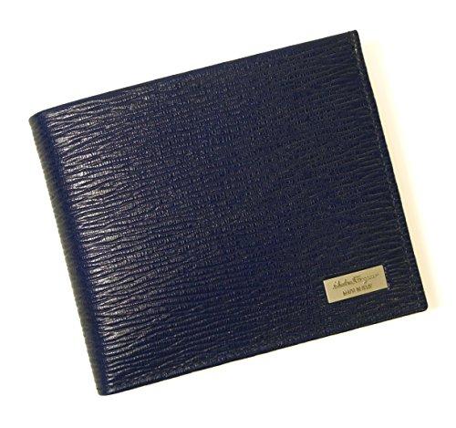 (フェラガモ) 財布 二つ折 型押し ペブルカーフ(ウルトラブルー×ダークグレー) SF-2235 [並行輸入品]
