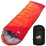 丸洗いのできる寝袋 封筒型 最低使用温度 -15℃ コンパクト収納袋付き シュラフ 寝袋 オールシーズン (オレンジ)