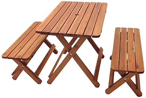 武田コーポレーション 【キャンプ・ガーデン・ガーデニング・カントリー風・テーブル・ベンチ】 折りたたみ式 木製 テーブル & ベンチ 3点セット (テーブル天板:78×52) TR-01