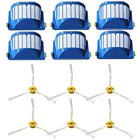 (12pcs for Roomba 600 Series) - Amyehouse Replacement Parts 6 x Aerovac Filters and Side Brush for iRobot Roomba 500 600 Series 550 560 614 620 630 650 655 660 665 680 690 695 Vacuum Cleaner