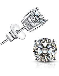Brilliant Cut CZ stud earrings – 18K Gold Plated Stud Earrings For Women Men Ear Piercing Earrings Cubic Zirconia Inlaid,4mm,5mm,6mm,7mm Available