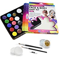 Water Based Non-Toxic FDA Approved Face&Body Paint for Sport Party-Kids adult-12 Colors Palette,25 Stencils, 2 Brushes,2 Glitters,2 sponges,2 Foam applicator(Paints 60-80 Faces)