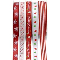 SLRMKK Christmas Grosgrain Ribbons Bundle,5 Roll 5M Colorful Xmas Theme Ribbon, Wide Double Faced Polyester Satin Ribbon,Winter Holiday Fabric Ribbon for Wedding and Gift Wrapping
