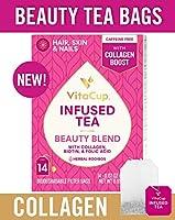 VitaCup 美容 ブレンド 注入 茶 14 ct |ケト | パレオ | ジャスミン ハーブ ルイボス カフェイン フリー ティー コラーゲン タイプ I と III ビオチン (B7) と 葉酸(B9) ヘルプ サポート 健康 髪 肌 爪