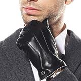 【ELMA】上等品 メンズ 皮 本革 羊革 レザー  ナッパ革 手袋 グローブ 手ぶくろ メッキメタルlogo 燕尾嵌め口 スマートフォン対応  全て内縫い  秋冬 黒 ブラウン EM011NC1 EM011NR1 (S, ブラウン(カシミヤCashmere)(スマートフォン対応))