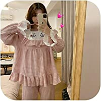 Ling-long Girl's Home Service Plaid Embroidered Pajamas Cute Casual Cotton Lady Sleepwear Home Set Nightclothes Beautiful Nightgown