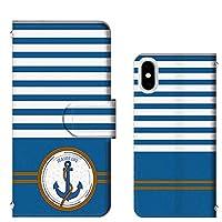 iPhone 7 Plus カードタイプ ボーダー アンカー セーラー マリン 手帳スマホカバー [FFANY] anchor@t154@02