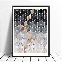 北欧幾何学的立方体アートポスターと版画壁アートキャンバス絵画写真用リビングルーム抽象家の装飾いいえフレーム50 * 70センチ