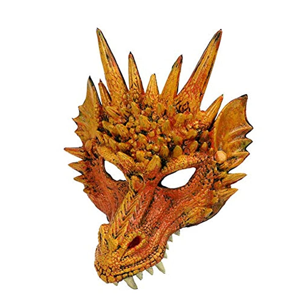 つま先パワーイベントEsolom 4Dドラゴンマスク ハーフマスク 10代の子供のためのハロウィンコスチューム パーティーの装飾 テーマパーティー用品 ドラゴンコスプレ小道具