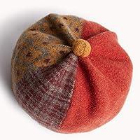 女性ベレー帽帽子100%ウールベレー帽キャップヴィンテージ帽子用女の子レディースフレンチベレー帽帽子冬暖かい帽子画家帽子ボヘミアン帽子 (Color : Red)