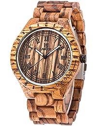 木製 腕時計, UWOOD W1001A 腕時計 木製 wood watch メンズ ウッドウォッチ クオーツウォッチ 木製腕時計 男性 人気 腕時計 ランキング 軽量 石英時計 休闲 (Brown)